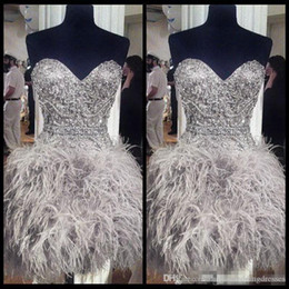 Discount short strapless black feather dress - 2018 Short Prom Dresses With Feathers Sweetheart Neck Corset Lace Up Back Graduation Homecoming Dress Beading Crystal Co