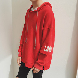 $enCountryForm.capitalKeyWord Canada - New Autumn Fashion Men Women Oversized Hoodies Hip Hop Printed Solid Red Loose Pullover Korean Harajuku Streetwear Hoodie Men