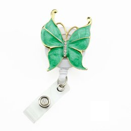 $enCountryForm.capitalKeyWord UK - 50pcs Fashion Retractable 6colors Enamel fancy Butterfly ID Badge Holder Reel Student Teacher Nurse ID Name Card Clip Office Supplier