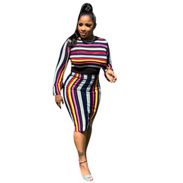 c90485680 Stripe Tops Suit Mini Skirt Set Casual Long Sleeve Top And Skirt Style  Women Summer Cut Out 2 Two Piece Set And Bluz