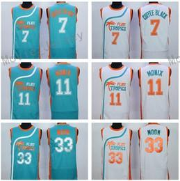 Wholesale Cheap Mens Semi Pro Movie Flint Tropics Coffee Black Jersey Jackie Moon Downtown ED Monix Basketball Jerseys