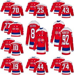 23d5b04f853 18-19 Stanley Cup Champions Washington Capitals Hockey 8 Alex Ovechkin 77  TJ Oshie 70 Braden Holtby 43Tom Wilson 92 Kuznetsov hockey jerseys