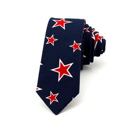 Skinny tie paiSley online shopping - Navy Red Star Design Cotton Ties american flag tie Fashion Casual Tie Men Wedding