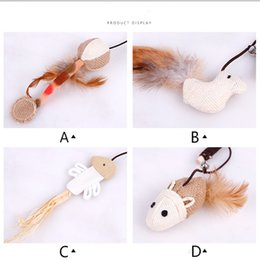 pet mouse supplies Australia - 2018 hot pet supplies Natural wood hemp art mouse head small fish cat toys with bells to play with the cat rod stick play with the cat stick