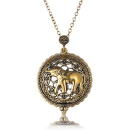 $enCountryForm.capitalKeyWord Canada - Magnifying Elephant Pocket Watch Shape Pendant Necklace Vintage Magnifier Glass Chain Fashion Animal Collar Choker Jewelry D545S