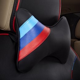 wholesale neck strips NZ - 1 Pair Car Headrest Neck Pillow with Three Colors Strips Mark Leather Auto Neck Protection Rest Pillows For BMW Universal
