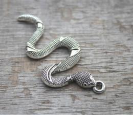 TibeTan snake charms online shopping - 10pcs Snake Charms Antique Tibetan silver Tone Large Snake charm pendant x25mm