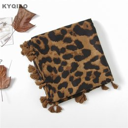 Discount spain scarfs - KYQIAO Leopard scarf for women head scarf female autumn spring Spain style sexy long leopard scarves cape shawl