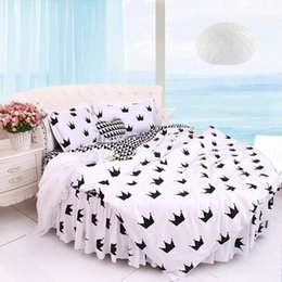 adult ruffle bedding Australia - Cotton Lace Black and White Round Bed Bedding 4pcs Set Super California King Size Ruffle pattern Roundcorner Bedding kit DuvetCover Bedskrit