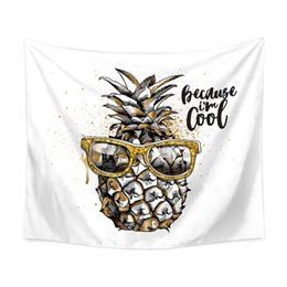 design tablecloths wholesale Canada - 2018 New Design Pineapple Wall Hanging Tapestry 150*200cm Bohemian Wall Cloth Beach Towel Yoga Picnic Mat Tablecloth Home Decoration Gift