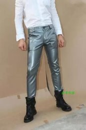 $enCountryForm.capitalKeyWord Canada - 28-38 2018 New Korean Men's clothing slim FASHION leather pants Plus size PU leather trousers Little boots pants men bar stage costumes