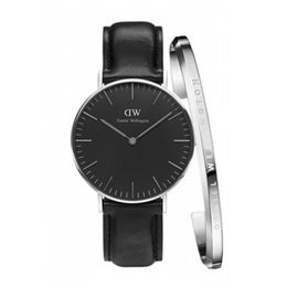Hour clock online shopping - Fashion MM watch set Bracelet Watch Men watches PU Leather High Quality WD Brand Clock Hour