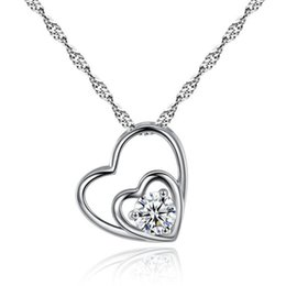 Gold photo locket pendant online shopping - Luxury Designer Heart Silver Necklace Real Photos Shining Crystal Love Necklaces Women Slides Heart Pendant Locket Clavicle Necklace Jewelry