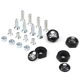 Car Chrome plating online shopping - Crossbone Skull head License Plate Screws Thread License Plate Bolt Frame Bolts Universal Screws Chrome Car Styling
