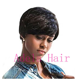 medium length hair styles NZ - New Arrival Cheap African American Short Wigs for Black Women Short Human Hair Cut short hair style full Wig none lace wigs free shipping