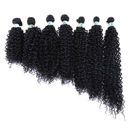 Extensiones de cabello rizado rizado de color negro ola afro de fibra sintética de alta temperatura de 8-30 pulgadas para mujeres negras