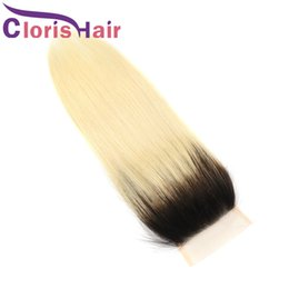 hair human ombre blond 2019 - Ombre Blonde Straight Raw Indian Malaysian Virgin Hair Lace Closure Colored 1B 613 Top Closures Piece Dark Roots Blond H