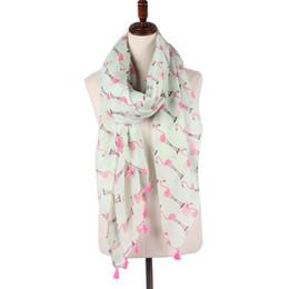 ddda96f6f4192 Staiwalks New Arrival Tassel Scarf With Flamingo Animal Print Green Women  Fashion Elegant Style Shawl Soft Wrap Light Weight
