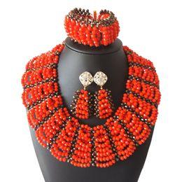 $enCountryForm.capitalKeyWord Australia - Bright Red Crystal Beads Ethiopian Jewelry Set for Women Nigerian Beads Necklace Earring Bracelet African Costume Jewelry Set