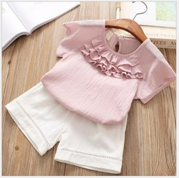 $enCountryForm.capitalKeyWord NZ - Sweet baby girls princess blouse and white shorts summer outfit clothing children ruffles solid t-shirt set for kids 2-6yrs