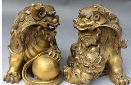 "$enCountryForm.capitalKeyWord NZ - 8""Chinese Bronze Brass Protection Door Foo Fu Dog Guardion Lion Ball Statue Pair"