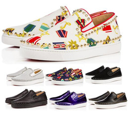 7530ee1a4547 Sale Designer Red Bottom Sneakers Casual Shoes Mens Womens White Lows Spikes  Flats Loafers Pik Boat Genuine Leather Fashion Man Woman Shoe