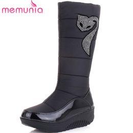 Lady Snow Boots Mid Calf Australia - MEMUNIA 2017 new fashion snow boots rhinestone wedges high heels thick fur inside winter mid calf boots ladies women boots