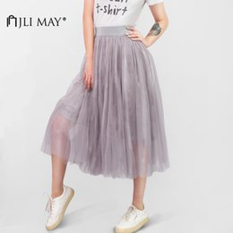 tutu skirts adult layers NZ - JLI MAY Long adult tulle skirt wedding maxi 3 layers black white elastic pleated mesh mid-calf tutu women summer elegant party S916