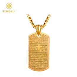 Discount lord prayer pendants - 2018 New FINE4U N019 316L Stainless Steel Pendant Necklace Spain Bible Lords Prayer Cross Skateboard Necklaces For Men