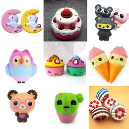 wholesale tv cell phones 2019 - HOT Squishy Toys squishies Rabbit tiger owl panda pineapple bear cake mermaid Slow Rising Squeeze Cute Cell Phone Strap