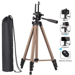 China NEW Camera Phone Tripod Aluminum Lightweight Sturdy Tripod with Bag Wireless Remote Universal Clip 3-Way Swivel cheap aluminum selfie stick suppliers