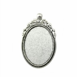 Wholesale Pendant Sets NZ - 6 Pieces Cabochon Cameo Base Tray Bezel Blank Diy Accessories For Tree Branches Perforation Inner Size 30x40mm Oval Necklace Pendant Setting