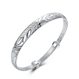 $enCountryForm.capitalKeyWord NZ - European and American style 925 sterling silver Simple flower bracelets bangle fashion jewelry making women gifts free shipping LKNSPCB186