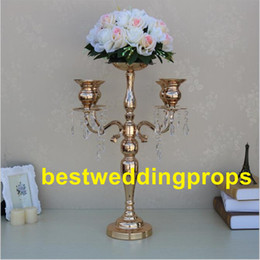 gold wedding candelabra wholesale Australia - New style 5-arms metal Gold candelabras with crystal pendants wedding candle holder Event centerpiece best0273