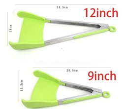 $enCountryForm.capitalKeyWord NZ - 9 12inch Clever Tongs 2-in-1 Kitchen Spatula Tongs Multifunction Non-stick Heat Resistant Stainless Steel Frames Silicone Cooking Utensils