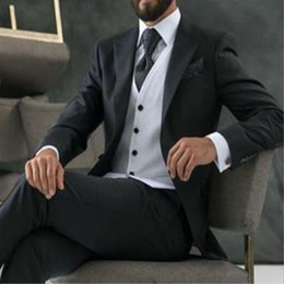 best party dress image man 2018 - Classic Fit Wedding 2018 Best Men's Suits Men Suits Business Black Silver Buttons Groom Party Dresses 3 piece cheap
