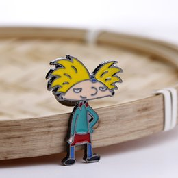 alloy jacket 2019 - Cartoon Character Cool Boy Brooches Pins Enamel Brooch Yellow Hair Boy Pins Badge Jacket Cloth Jewelry Gift for Girl Boy