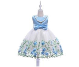 China Cuhk children Net yarn embroidery dress girl's Sleeveless dresses Back zipper princess skirt for 2-8 year baby girl c2105 suppliers