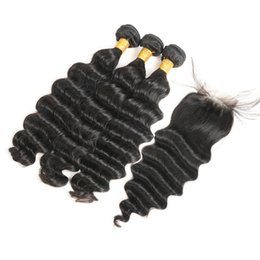 thick virgin deep wave brazilian hair NZ - Hair Bundles with Closure Loose Deep Wave with Closure Brazilian Virgin Hair Full and Thick Lace Closure Natural Color Free Shipping