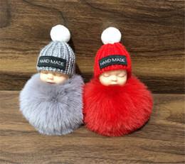 Dolls fur balls online shopping - Cute Sleeping Baby Doll Keychain Pompom Rabbit Fur Ball Key Chain Car Keyring Women Key Holder Bag Pendant Charm Accessories