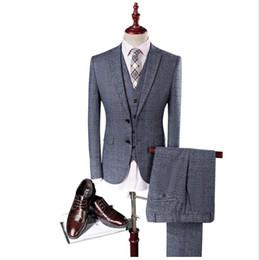 Satin Wedding Dresses Small Australia - Jacket+Pant+Vest 2017 Men's Small grid suit Slim Fit fashion leisure wedding dress suits Man jog suit Men coat blazers man slim fit suit