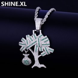 $enCountryForm.capitalKeyWord Australia - Iced Out Dollar Tree Pendant Necklace Two Tone Micro Paved Zircon Men Gold Chain Hip Hop Jewelry for Gift