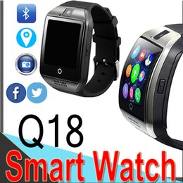 Discount screen watch cell phone - Q18 Smart Watch Bluetooth Sports Mini Camera for Android IOS iPhone Samsung Smart Cell Phones GSM SIM Card Touch Screen