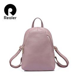 c24f3ceac6bb REALER fashion women genuine leather backpacks for girl high quality female  shoulder bags teenagers schoolbag mochila small girl