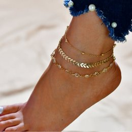 Wholesale 3PCS SET Bohemia Multilayer Rhinestone Bracelet Ankle Bohemian Adjustable Chain Anklets For Women Vintage Summer Barefoot Jewelry