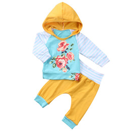 autumn kids leggings UK - 2018 Spring Autumn Kids Clothing Baby Girl Clothes Set Cotton Patchwork Striped Floral Hoodies Tops with Pants Leggings Two Piece Kids Suits