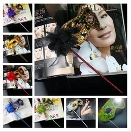 $enCountryForm.capitalKeyWord NZ - 2018 hot sales HandMade Party Mask with stick Wedding Venetian Half face flower mask Halloween Masquerade princess Dance party Mask 7 color