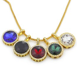 Gold necklace boxes pearls online shopping - 5 Colors Round Gemstone Necklaces Hip Hop Choker Gold Chain for Mens Iced Out Chains Designer Jewelry Box Links