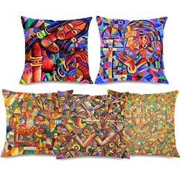 China Traditional Cameroon People Cushion Covers African Queen Women Lifestyle Music Cushion Cover Linen Cotton Pillow Case For Sofa Couch suppliers