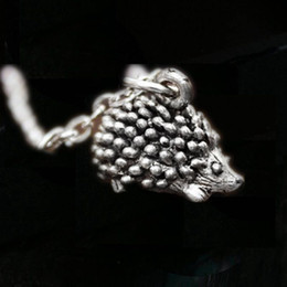 Pewter Pendants online shopping - 12pcs Hedgehog Animal Jewelry Necklace Hedgehog Charm Pewter Necklace Porcupine